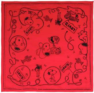 Levi's Snoopy & Logo Printed Cotton Scarf