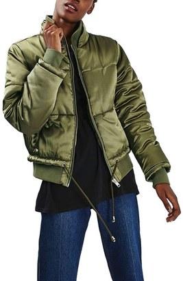 Petite Women's Topshop Carter Satin Puffer Jacket