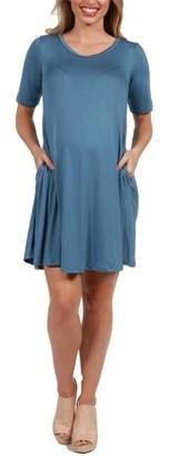 24/7 Comfort Apparel Pocket Maternity Mini Dress