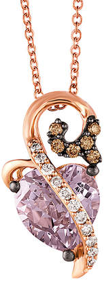 LeVian Le Viana Chocolatiera 14K Rose Gold 1.87 Ct. Tw. Diamond & Pink Amethyst Necklace