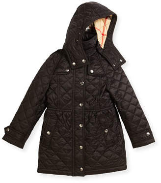 Burberry Foxmoore Hooded Quilted Trenchcoat, Black, Size 4-14