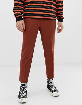 Asos Design DESIGN heavyweight tapered crop smart trouser in apricot orange