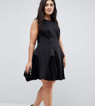 Asos Scuba Lace Godet Mini Dress