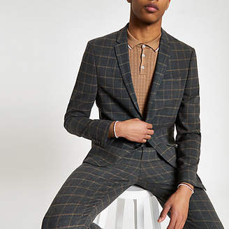 River Island Dark grey check skinny fit suit jacket