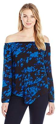 James & Erin Women's Printed Off The Shoulder Top 2