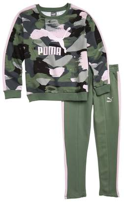 Puma Logo Fleece Printed Sweatshirt & Pants Set