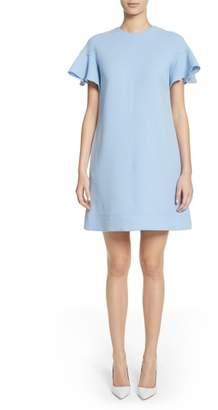 Lela Rose Flutter Sleeve Wool Blend Shift Dress