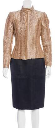Oscar de la Renta Embellished Silk Skirt Suit w/ Tags