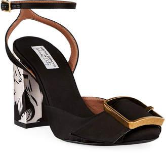 Tabitha Simmons Serena Satin Buckle Sandals, Black