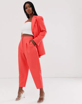 Asos Design DESIGN exaggerated 80s tapered suit pants in coral