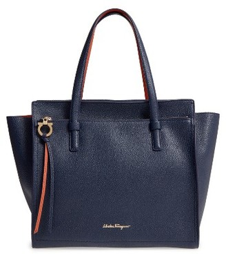 Salvatore Ferragamo Large Pebbled Leather Tote - Blue $1,490 thestylecure.com