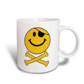 3dRose Pirate smiley face Yellow happy Jolly Roger flag skull and crossbones smilie with eye patch - white, Ceramic Mug, 11-ounce