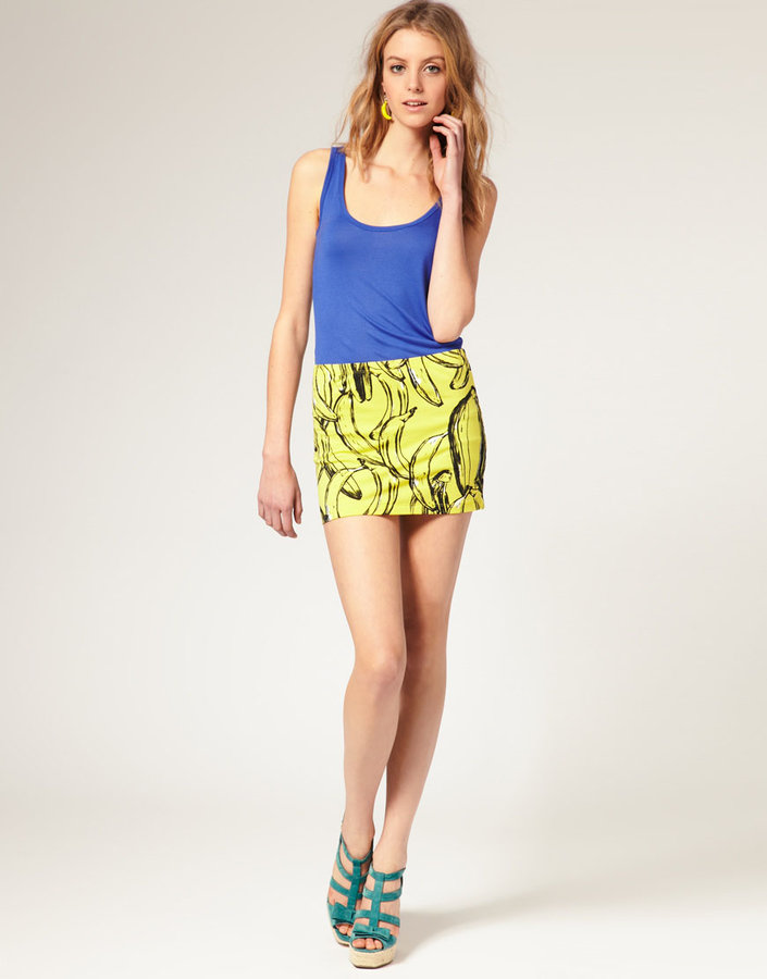 ASOS Banana Print Mini Tube Skirt