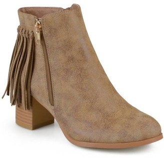 Co Brinley Women's Faux Leather Stacked Heel Fringe Ankle Boots