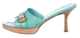 Chanel Patent CC Slide Sandals