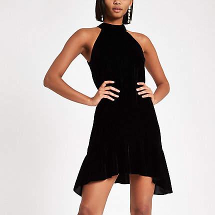Womens Black velvet halter neck swing dress