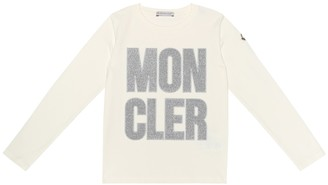 Moncler Enfant Embroidered logo stretch cotton top