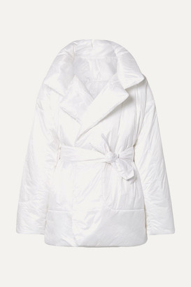Norma Kamali Sleeping Bag Oversized Belted Quilted Shell Coat - White