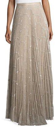 Alexis Teresa Metallic Plissé Maxi Skirt, Silver Blush $715 thestylecure.com