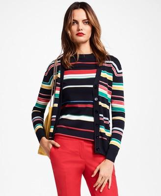 Brooks Brothers Striped V-Neck Cardigan Sweater