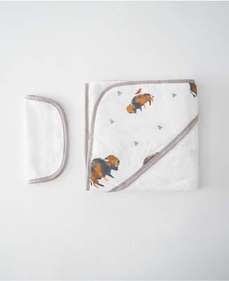 Little Unicorn Bison Cotton Hooded Towel Wash Cloth Set