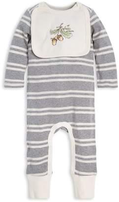 Burt's Bees Stripe Organic Baby Jumpsuit & Attached Acorn Bib Set