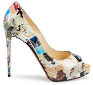 Christian Louboutin New Very Privé 120 Printed Patent Leather Peep Toe Pumps