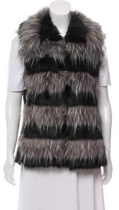 Adrienne Landau Faux Fur Leather Vest Grey Faux Fur Leather Vest