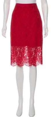 Diane von Furstenberg Lace-Accented Knee-Length Skirt