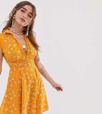 Sisters Of The Tribe Petite button front mini tea dress in floral