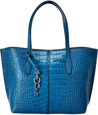 Tod's Joy Medium Croc-Embossed Leather Tote