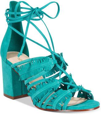 Nine West Genie Lace-Up Block-Heel Sandals Women's Shoes $99 thestylecure.com