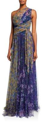Marchesa Colorblock Floral-Print One-Shoulder Tulle Dress w/ Back Cutout