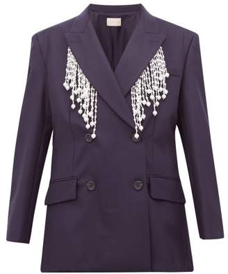 Christopher Kane Faux Pearl Fringed Double Breasted Wool Blazer - Womens - Navy