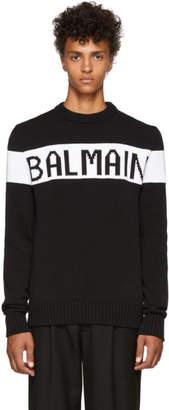 Balmain Black Intarsia Logo Crewneck Sweater