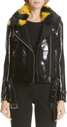 Shrimps Faux Leather Moto Jacket with Removable Faux Fur Collar