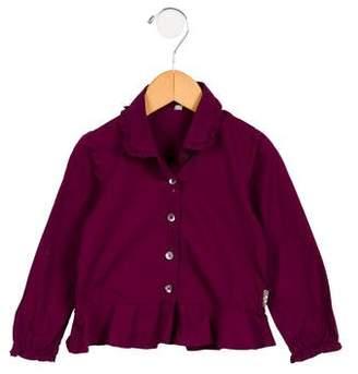 Burberry Girls' Ruffle-Trimmed Button-Up Top
