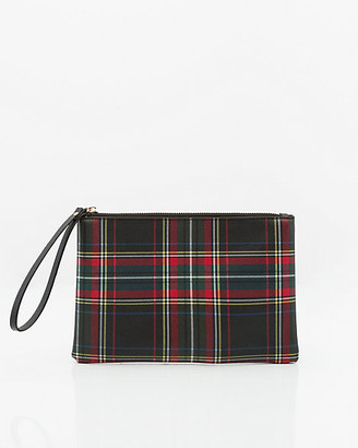 Le Château Check Print Leather-Like Cosmetic Pouch