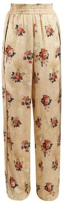 Golden Goose Floral Print Wide Leg Satin Trousers - Womens - Beige Multi