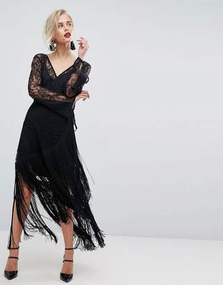 Asos Design Lace Deep Plunge Fringe Wrap Midi Dress
