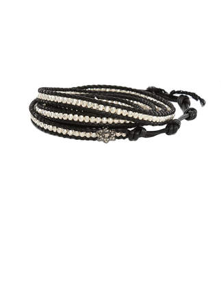Chan Luu Silver Bead on Black Leather Wrap Bracelet