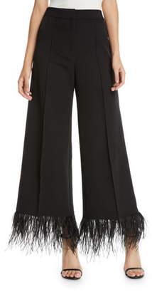 Milly Hayden Wide-Leg Italian Cady Cropped Pants w/ Feather Hem