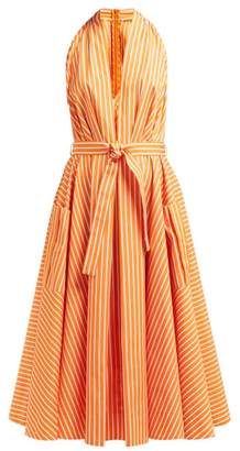 Sara Battaglia Belted Striped Cotton Midi Dress - Womens - Orange Multi