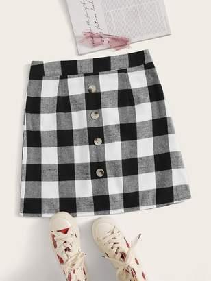 Shein Gingham Button Front Zip Back Skirt