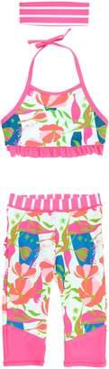 RuffleButts Stems Four-Piece Swimsuit & Rashguard Set