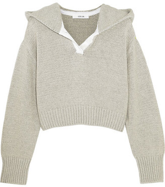Adeam - Cropped Cotton And Cashmere-blend Hooded Sweater - Light gray $695 thestylecure.com