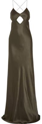 Michelle Mason - Cutout Backless Silk Gown - Dark green