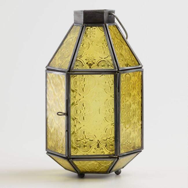 Medium Yellow Embossed Glass Tabletop Lantern
