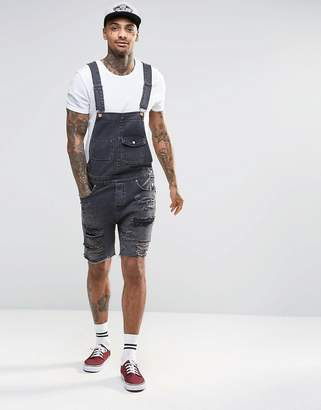 ASOS Denim Overalls With Mega Rips In Washed Black $53 thestylecure.com