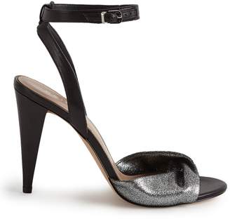 Reiss Klaudia - Twist Front Open Toe Sandals in Black/silver